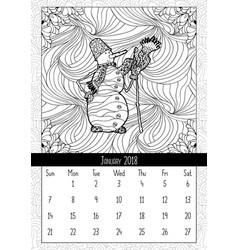 Snowman in doodle style calendar january 2018 vector