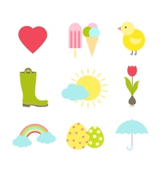 spring icons vector image