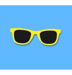 Sunglasses Icon Yellow sunglasses on blue vector image