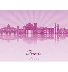 Trieste skyline in purple radiant orchid vector image vector image