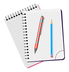 Two notebooks red pen and blue pencil vector