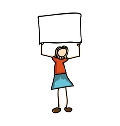 Woman cartoon holding blank sign icon image vector