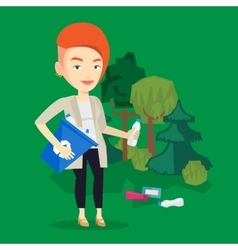 Woman collecting garbage in forest vector