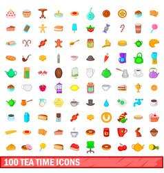 100 tea time icons set cartoon style vector