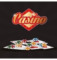 Cards chips casino icon vector