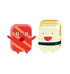 Funny maki sushi character friends talking vector