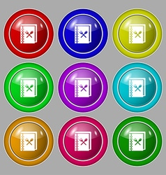 cook book icon sign symbol on nine round colourful vector image