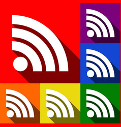 rss sign set of icons with vector image