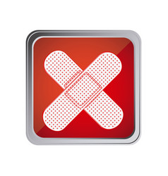 Button with crossed adhesive band with background vector