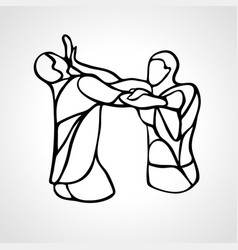 Krav maga silhouettes two abstract fighters vector
