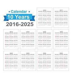 2016 2025 calendar black text on a white vector
