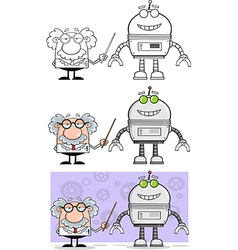cartoon professor with robot vector image