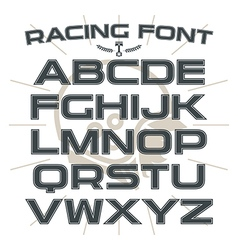 Sans serif font in retro racing style vector