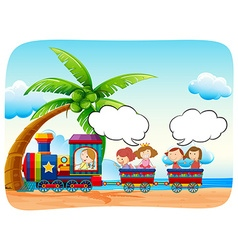 Kids on train at the beach vector image