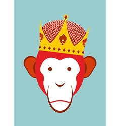 Red monkey in imperial crown chimpanzee head is a vector
