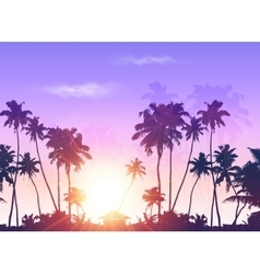 Palms silhouettes at purple sunset sky vector