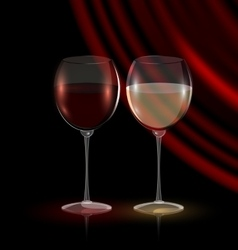 Couple glasses of wine vector
