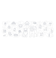 Animal pets grooming and healthcare flat line vector