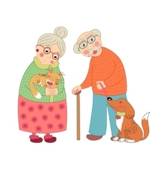 Cute darling grandmother and grandfather granny vector