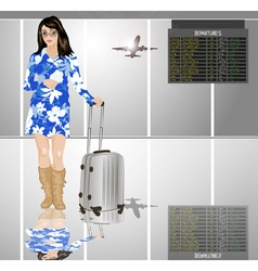 Stylish travelling lady with a suitcase vector