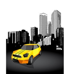 Yellow small sport car with cityscape at the vector image