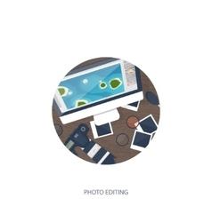 Photographer equipment on a table photography vector