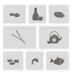 monochrome icon set with sushi and sake vector image