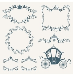 Vintage royalty frames with crown diadems vector