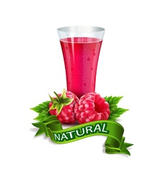 Glass of juice with raspberry and ribbon vector