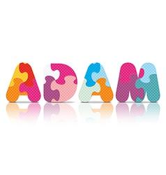 Adam written with alphabet puzzle vector