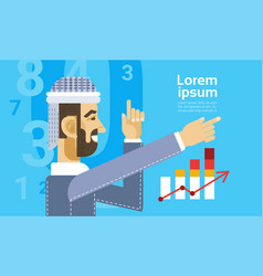 Arab business man showing finance chart graph vector
