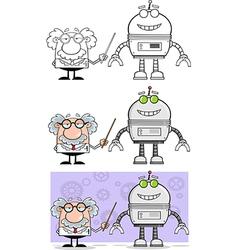 Cartoon professor with robot vector