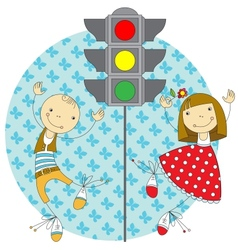 children and traffic lights vector image vector image