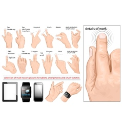 Collection of multi-touch gestures vector image vector image