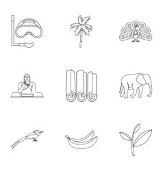 Country sri lanka icons set outline style vector