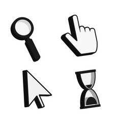 Cursor icons 3d finger arrow magnifying glass vector