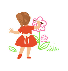 cute little girl in red dress painting flowers on vector image