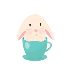 cute rabbit in teacup set for baby vector image vector image