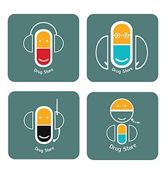 drug store icon collection vector image vector image