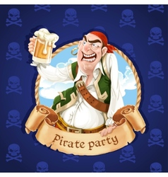 Drunken pirate with a beer banner for pirate vector