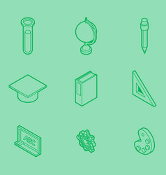 education outline isometric set vector image