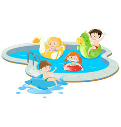 four kids having fun in the pool vector image