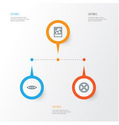 Icons set collection of image exit glance and vector