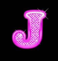 J letter pink bling girly vector image
