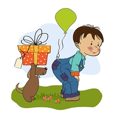 little boy and his dog birthday card vector image