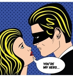 Man in black superhero mask and woman love couple vector image