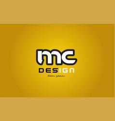 Mc m c alphabet letter combination digit white on vector