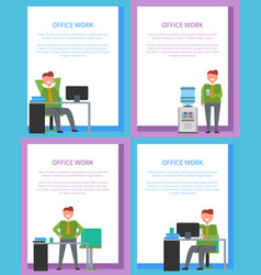 office work posters set men at workplace have rest vector image