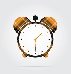 Orange black tartan isolated icon - alarm clock vector