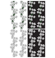 pattern black and white flowers daffodils vector image
